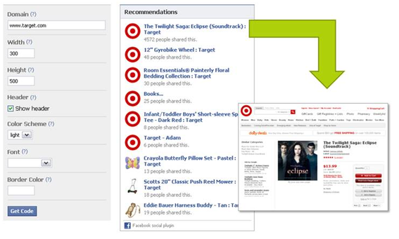 "Facebook users have ""Recommendated"" products from Target.com."