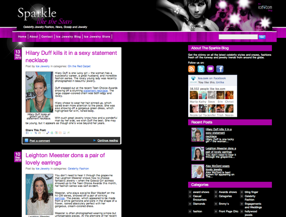 Screenshot of Sparkle Like the Stars blog.