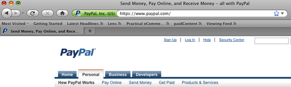 PayPal's green URL bar, for extended validation, as seen in Firefox.