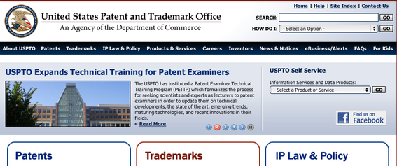 Screenshot, U.S. Patent and Trademark website.