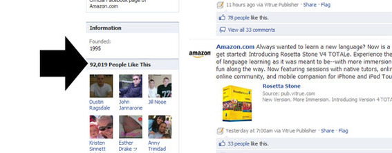Detail of Amazon's Facebook page showing the number of Amazon's Facebook fans.
