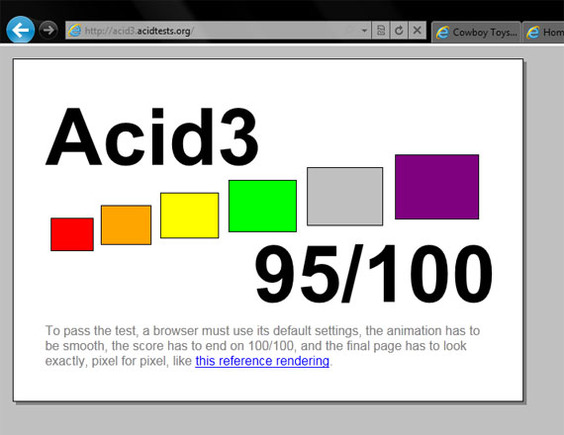 Acid3 test results of IE9.