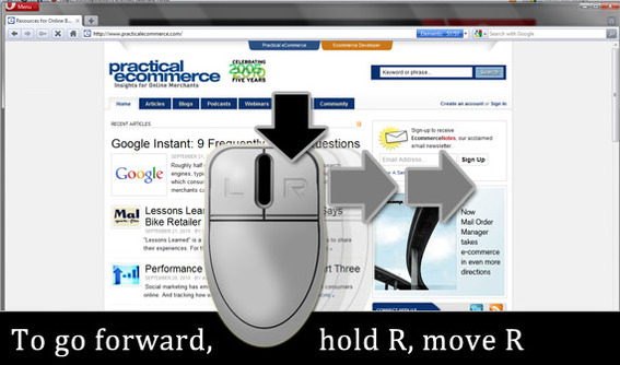 To go forward, hold down the right mouse button and move the mouse quickly toward the right.