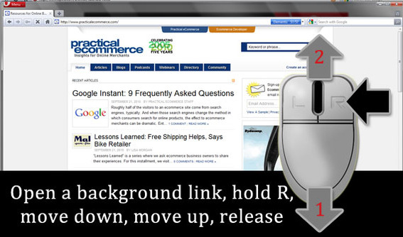 To open a background link, hold the right mouse button, move down, move up, release.