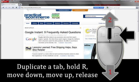 To duplicate a tab, hold the right mouse button, move down, move up, release.