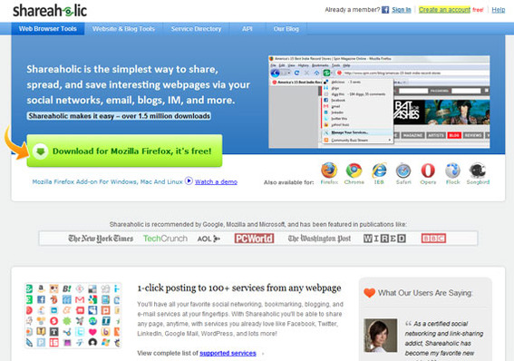 Shareaholic home page.