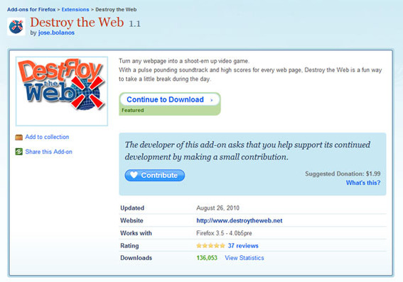 Destroy the Web download page.