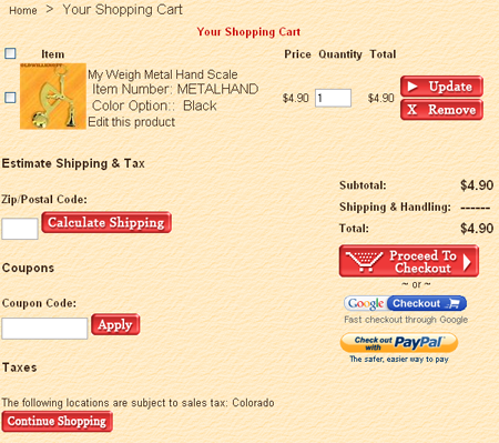 Sample checkout page.