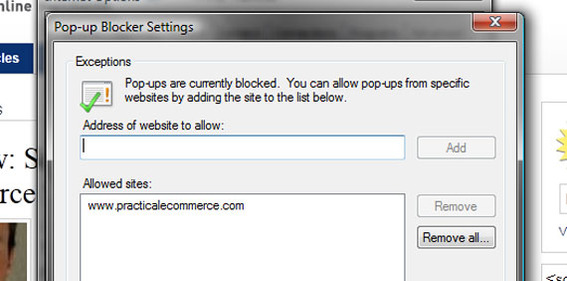 Adding exceptions to IE9's pop-up blocker settings.