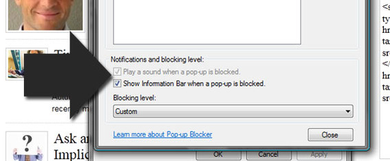 IE9 options to pop-up blocker notifications.