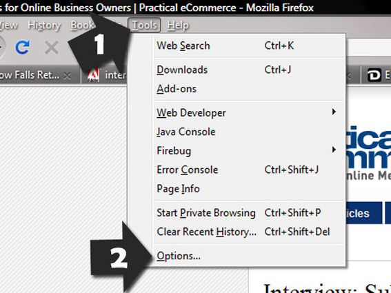 "Optional Firefox navigation using ""Tools"" menu, then ""Options."""
