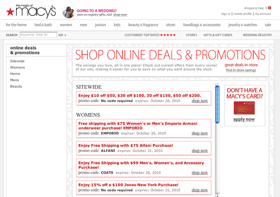 Macy's lists valid coupon codes on its website.