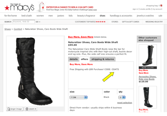 "Macy's also shows coupon codes directly on the applicable product pages, in the ""Offers"" tab."