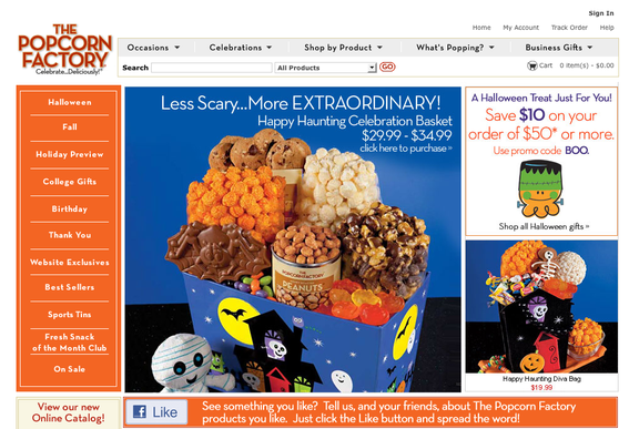 ThePopcornFactory.com home page, non-mobile.