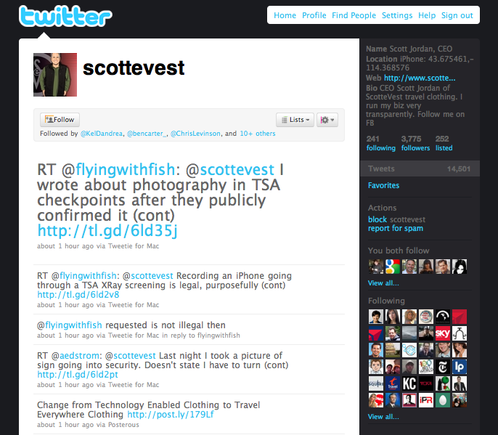 Scottevest's Twitter page.