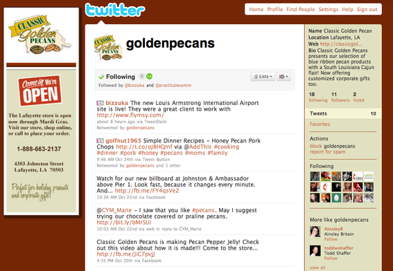 Classic Golden Pecans' Twitter page.