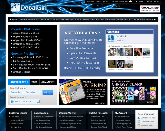 DecalGirl home page.