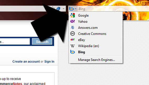 Firefox has a search engine menu.
