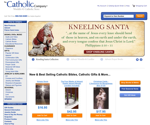 The Catholic Company home page from a desktop browser.