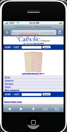The Catholic Company home page from an iPhone.