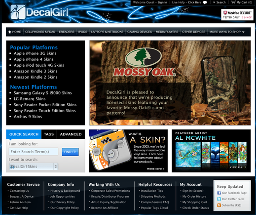"MobilizeToday.com will mobile-optimize DecalGirl.com in a forthcoming Practical eCommerce series. The ""traditional"" home page of DecalGirl is shown above."