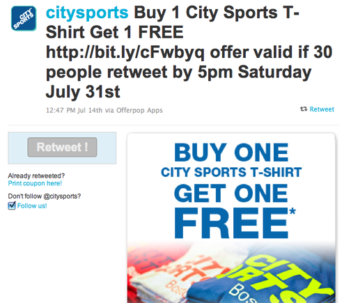 City Sports deal on Offerpop's Twitter app.