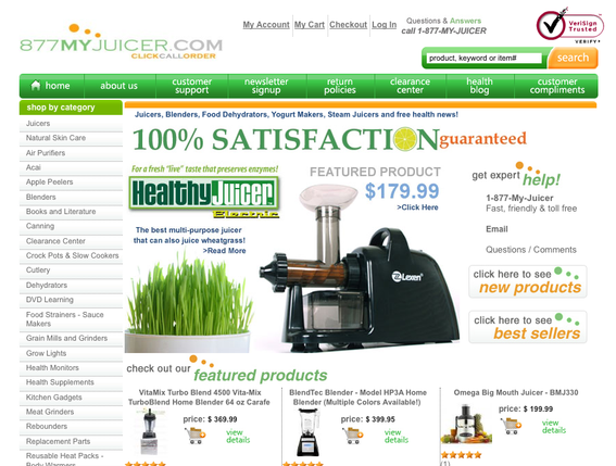 877MyJuicer.com's home page.