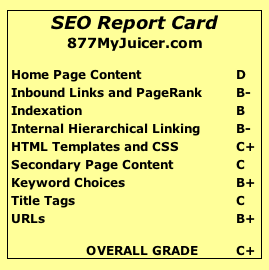 SEO report card for 877MyJuicer.com