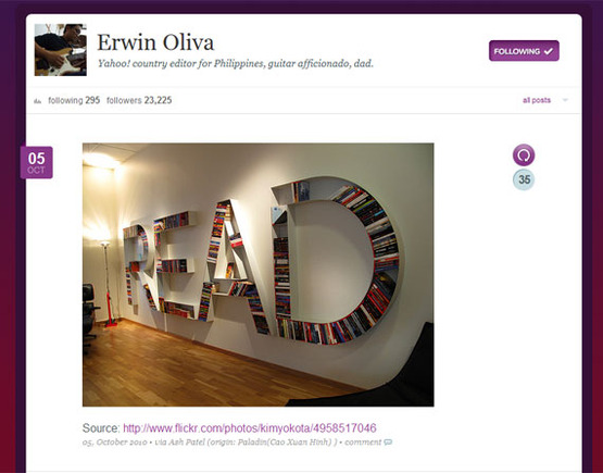 Erwin Oliva, Yahoo's country manager for the Philippines, has more than 23,000 followers on Meme.