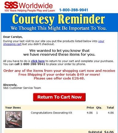 "Remarketing ""Courtesy reminder"" email sample, S&S Worldwide."