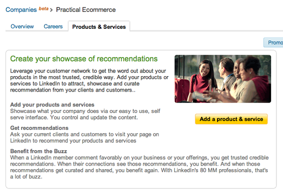 Products & Services tab, for LinkedIn users.