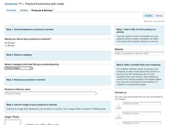 Product form page, for LinkedIn users.