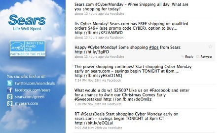 Sears' Cyber Monday promotions,  on Twitter.