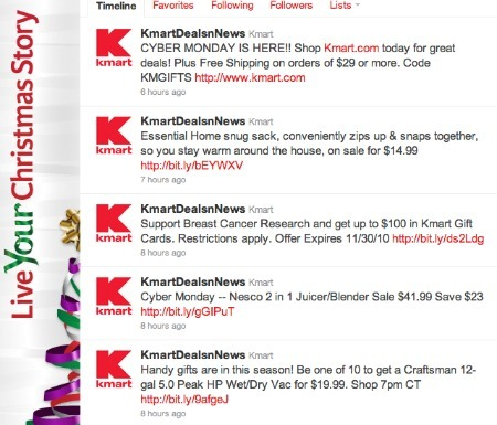 Kmart Cyber Monday promotions, on Twitter.