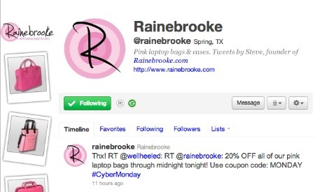 Rainebrooke's Cyber Monday promotions, on Twitter.