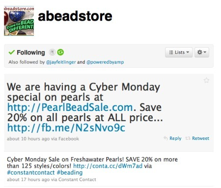 Beaded Impressions' Cyber Monday promotion, on Twitter.