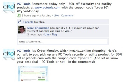 PC Tools Cyber Monday promotions on Facebook.