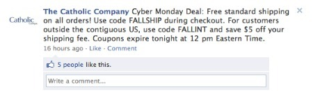 The Catholic Company's Cyber Monday promotion on Facebook.