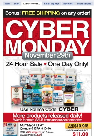 Vitacost's Cyber Monday promotion on Facebook.