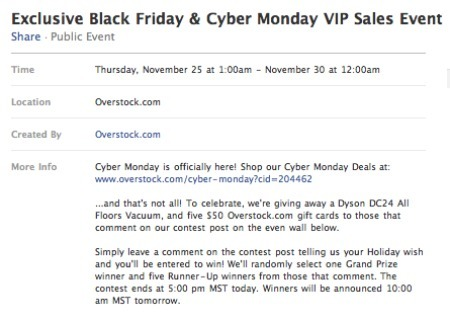 Overstock's Cyber Monday promotion on Facebook.