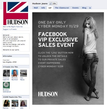 Hudson Jeans' Cyber Monday promotion on Facebook.