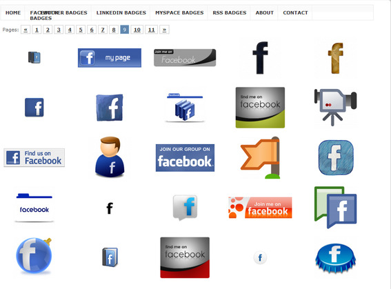 Samples of Facebook badges available on Coolbadge.org.