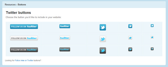 Sample 'Follow us on Twitter' buttons for Twitter users.