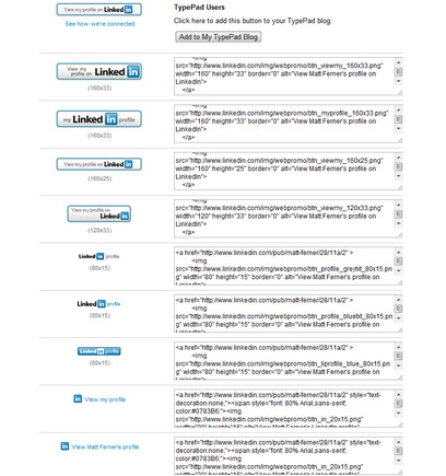 Sample 'View my profile on LinkedIn' buttons for LinkedIn users.