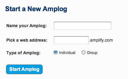 Starting new blog on Amplify requires completing a simple form.