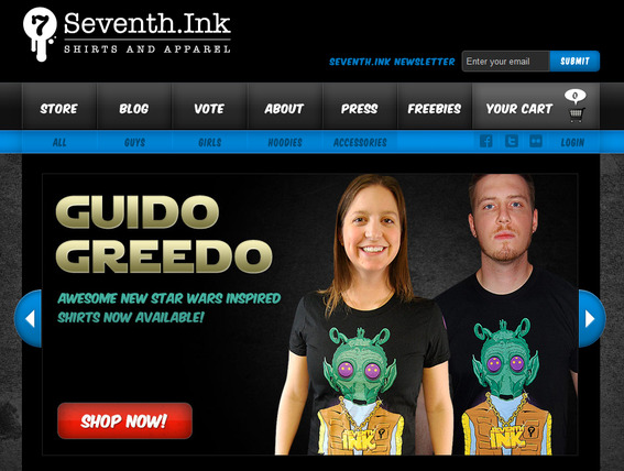 Seventh.Ink Shirts and Apparel, home page.