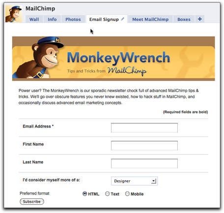 MailChimp Facebook email subscription app.