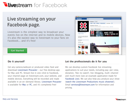 Livestream allows live streaming video.