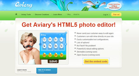 Aviary is now offering a free, embeddable HTML5 Photo Editor.