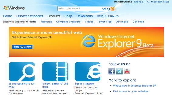 Internet Explorer 9 home page.